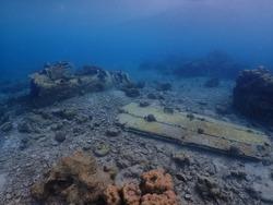 Japanese Mitsubishi Zero Fighter snorkling site in Kokopo Town near Tokua Airport , Papua New Guinea .