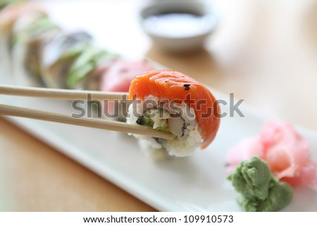 japanese mix rolls with row fish