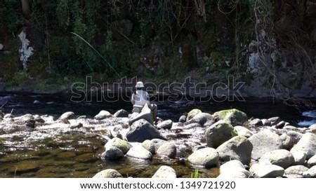 Japanese mountain stream fishing,Mountain stream fishing in Kikuchigawa, Kumamoto Prefecture