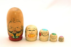 Japanese Nested Kokeshi Dolls (traditional wooden dolls)