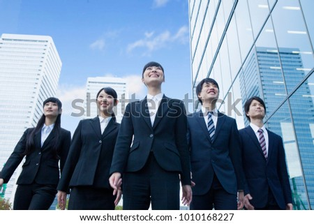 Japanese new society who stand in the office ストックフォト ©
