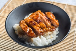 Japanese Oriental Cusine; Rice with teriyaki chicken grilled or teriyaki don in Japanese style set and ready to eat in studio lighting. Teriyaki sauce juicy chicken decorated in simple concept.