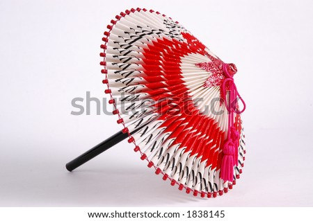 Japanese Origami Umbrella Made Of Cigarette Wrappers. Stock Photo