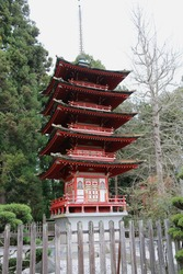 Japanese Pagoda, a narrow building with a multi-tiered roof style that originates from the Buddhism in India and East Asia, at a Japanese Tea Garden.
