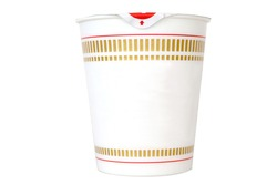 Japanese ramen instant cup noodle container on white background