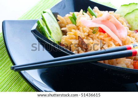 Japanese rice, vegetables and a salmon.