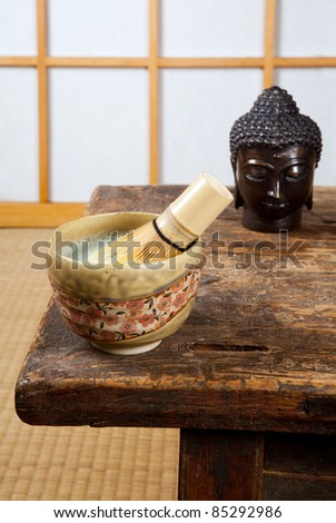Japanese room with green tea and bronze buddha
