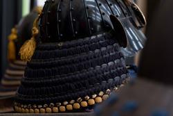 Japanese samurai helmet with face armor