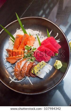 Japanese sashimi set mix - stock photo