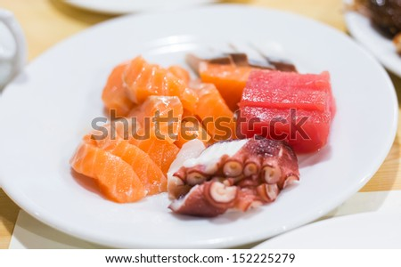 Japanese sashimi set mix in plate