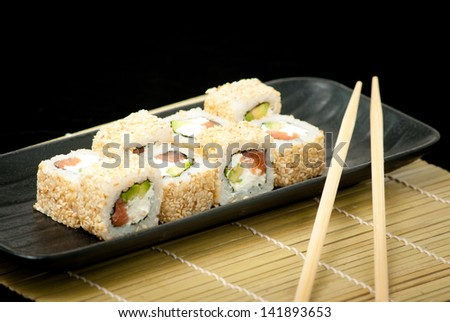 Japanese seafood sushi , roll set