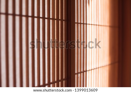 Japanese shoji screen with very fine lattice work, in light and shadow. Extremely shallow depth of field.