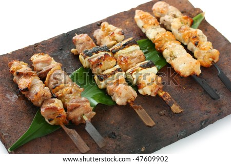 stock photo : Japanese skewered chicken,Yakitori