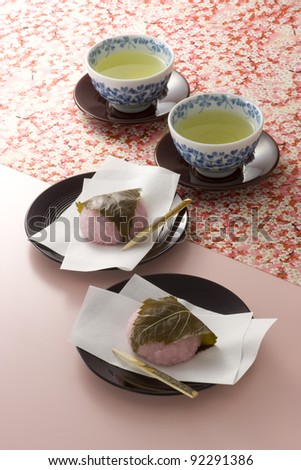 japanese spring's confectionery and green tea