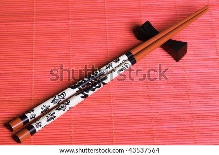 Japanese sticks. Eastern style.  Close up