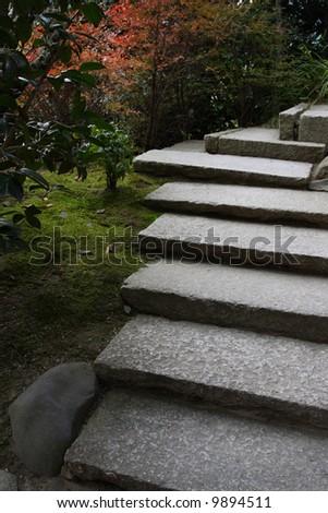 japanese stone stairs in zen garden in kyoto japan
