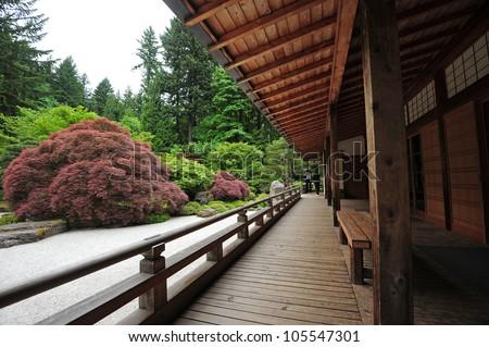 Japanese Style Balcony From Portland Japanese Garden Stock ...
