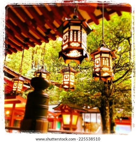 Japanese Style Lanterns Japanese Style Lanterns Backeda Green Treestock Photo