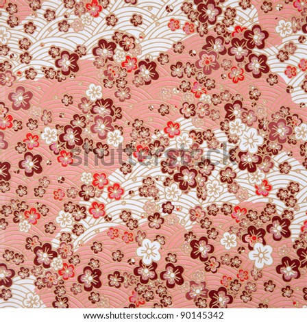 japanese style red  flower  and wave paper texture