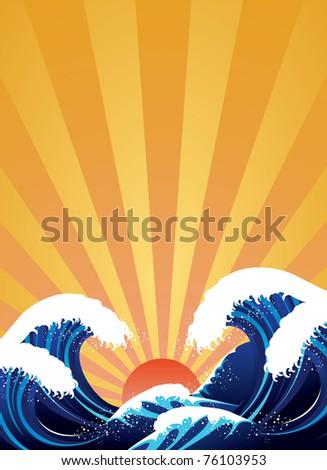 Japanese style wave illustration
