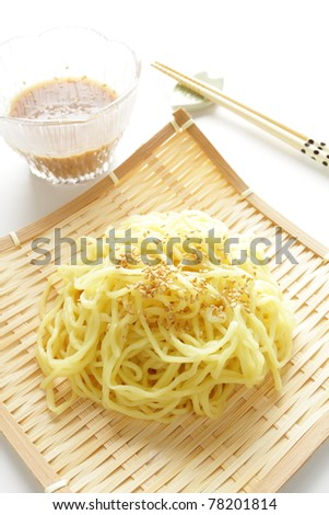 Japanese summer menu, cold ramen with sesame and sauce