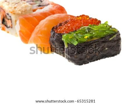 Japanese sushi food on white background