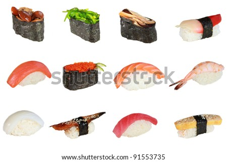 Japanese sushi in assortment
