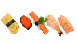Japanese sushi isolate white background