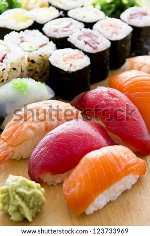 japanese sushi on the plate