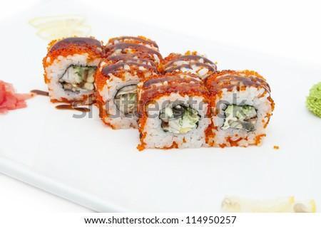 Japanese sushi seafood on a white background