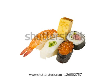 Japanese sushi set isolated on white background