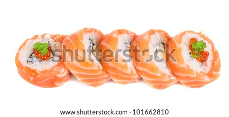 Japanese sushi traditional japanese food.Roll made of salmon, red cavair, roe and cream
