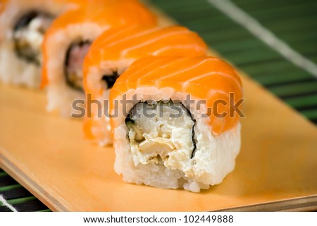 Japanese sushi traditional Japanese food. Roll made of Smoked