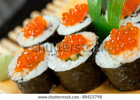 Roll Made of Smoked Fish And