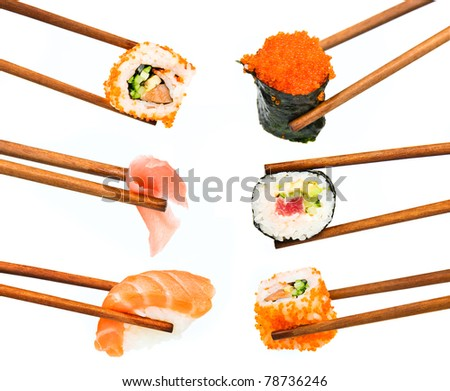 japanese sushi with rice, raw fish and seafood