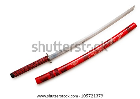 Japanese sword takana isolated on white