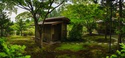 japanese tea house in rain forest garden