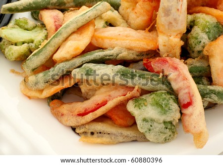 Japanese tempura with fresh vegetables fried in a light batter.
