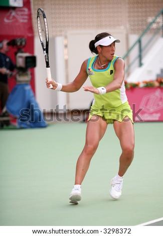 Japanese tennis star Ai Sugiyama during her defeat of Anastasia Myskina at the Qatar Total Open, Doha, March 2006.