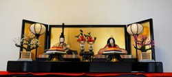 Japanese Traditional and Beautiful Hina Dolls on Hina Matsuri (Girls' Day, Feast of Dolls, Doll Festival, Dolls' Festival, March 3rd, 3rd of March).