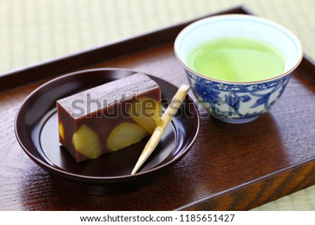 japanese traditional confection, kuri mushi yokan, steamed sweetened adzuki bean paste with chestnuts