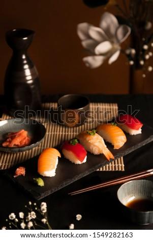 Japanese traditional sushi set, sushi nigiri, seafood sushi, sushi menu