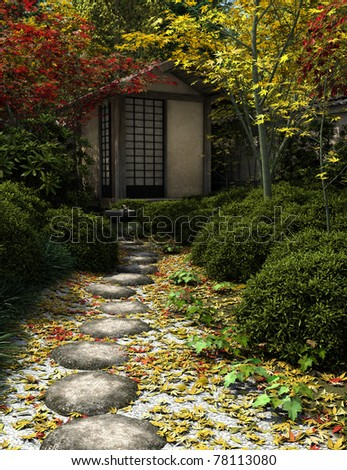 Stock Photo Japanese traditional tea house and garden with stepping stones, 3d digitally rendered illustration