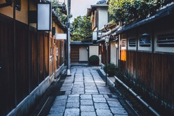 Japanese walk way in Gion town old traditional wooden home district alley  quiet calm travel place in Kyoto Japan.