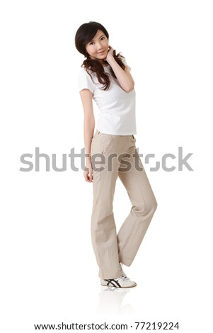 Japanese woman, full length portrait isolated on white background.