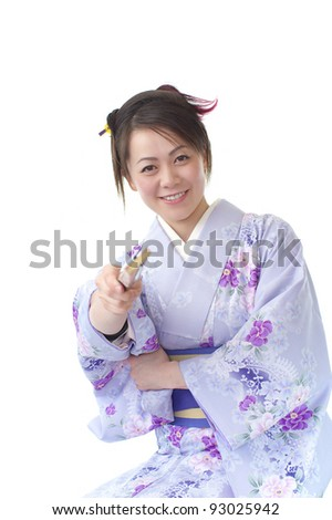 Japanese woman in Kimono, isolated on white background