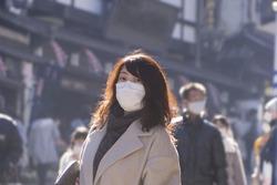 Japanese woman wearing mask in street .coronavirus prevention