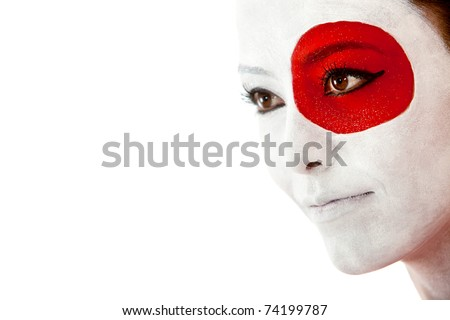 Japanese woman with the flag painted on her face - isolated