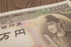 Japanese 10,000 yen bill. Prince Shotoku is drawn. Old banknotes from the Showa period.
