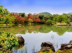 Japanese zen garden in Kinkakuji temple park (golden temple ), Kyoto